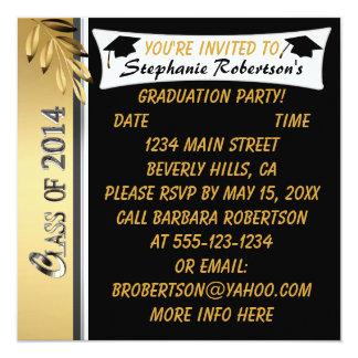Gold Leaf Black & Gold 2014 Graduation Invitations