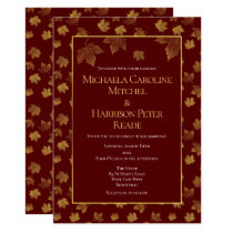 Gold Leaf Burgundy Marsala Wedding Invitation