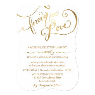 Gold Leaf Calligraphy Script Forever in Love Card