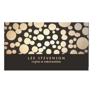 Gold Leaf Circles Look Modern and Trendy Brown Double-Sided Standard Business Cards (Pack Of 100)
