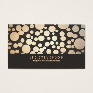 Gold Leaf Circles Look Modern and Trendy Brown Business Card