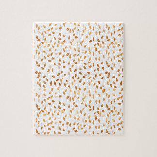 Gold Leaf Confetti Pattern Jigsaw Puzzle