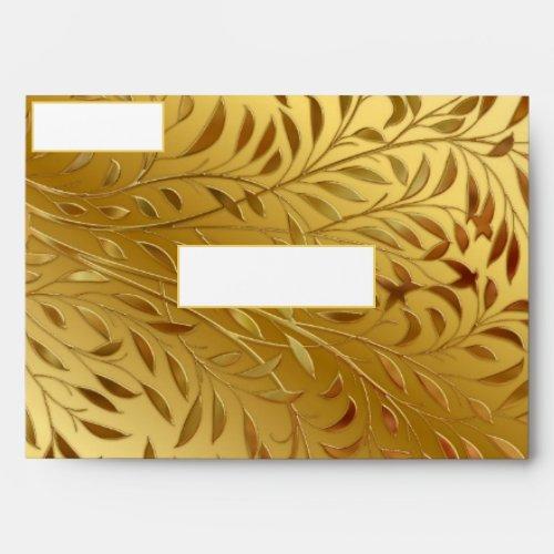 Gold Leaf Embossed Look Foil Elegant Envelope