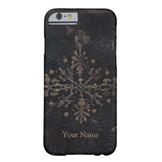 Gold Leaf Fleur-de-lis Antique Leather Barely There iPhone 6 Case