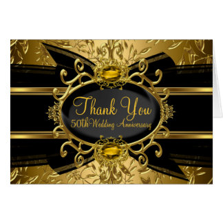 Gold Leaf & Gem 50th Anniversary Thank You Card
