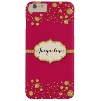 Gold Leaf Glitter Confetti Dots Personalized Name Barely There iPhone 6 Plus Case