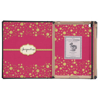 Gold Leaf Glitter Confetti Dots Personalized Name iPad Case