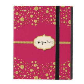 Gold Leaf Glitter Confetti Dots Personalized Name iPad Folio Case