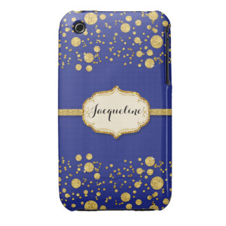 Gold Leaf Glitter Confetti Dots Personalized Name iPhone 3 Cover