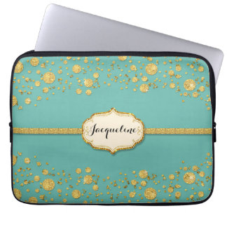 Gold Leaf Glitter Confetti Polka Dots Sparkle Laptop Sleeves