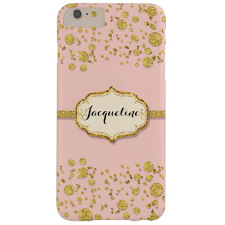 Gold Leaf Glitter Confetti Polka Dots Sparkle Pink Barely There iPhone 6 Plus Case