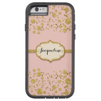Gold Leaf Glitter Confetti Polka Dots Sparkle Pink Tough Xtreme iPhone 6 Case