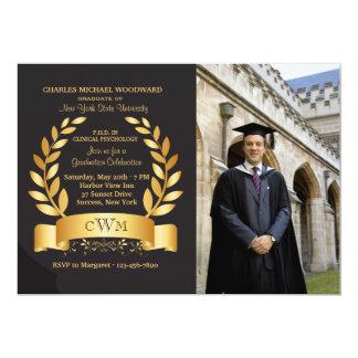 Gold Leaf Graduation Photo Invitation