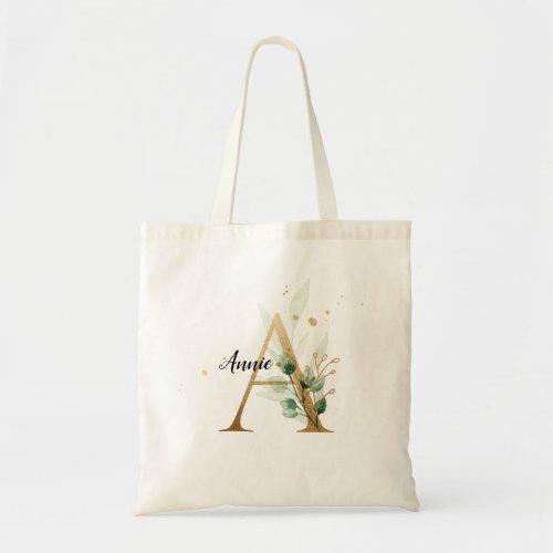 "Gold Leaf Greenery Elegant Foliage Monogram ""A"" Tote Bag"