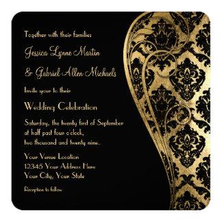 "Gold Leaf Look Damask Scroll Formal Wedding Invite 5.25"" Square Invitation Card"