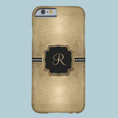 Gold Leaf Look Fleur de Lis Faux Vintage Jewel Barely There iPhone 6 Case