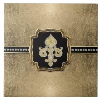 Gold Leaf Look Fleur de Lis Faux Vintage Jewel Ceramic Tile