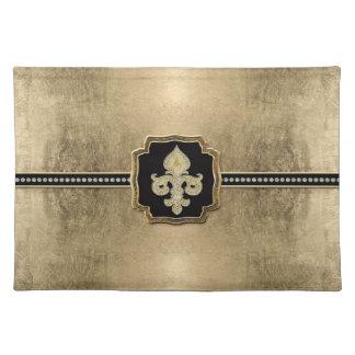 Gold Leaf Look Fleur de Lis Faux Vintage Jewel Cloth Placemat