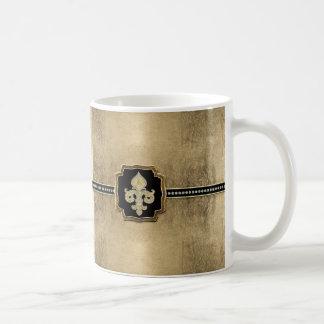 Gold Leaf Look Fleur de Lis Faux Vintage Jewel Coffee Mug
