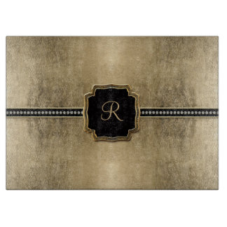 Gold Leaf Look Fleur de Lis Faux Vintage Jewel Cutting Board