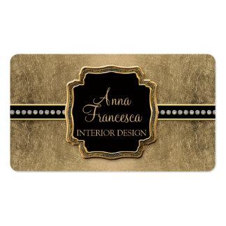 Gold Leaf Look Fleur de Lis Faux Vintage Jewel Double-Sided Standard Business Cards (Pack Of 100)