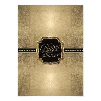 Gold Leaf Look Fleur de Lis Faux Vintage Jewel 5x7 Paper Invitation Card
