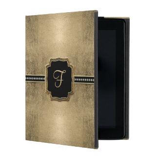 Gold Leaf Look Fleur de Lis Faux Vintage Jewel iPad Folio Case