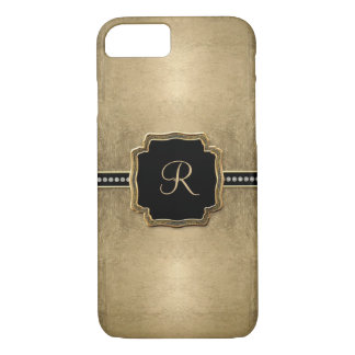 Gold Leaf Look Fleur de Lis Faux Vintage Jewel iPhone 7 Case
