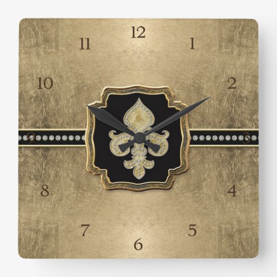 Gold Leaf Look Fleur de Lis Faux Vintage Jewel Square Wall Clock