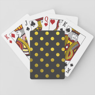 Gold Leaf Metallic Faux Foil Large Polka Dot Black Playing Cards