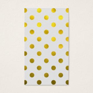 Gold Leaf Metallic Faux Foil Large Polka Dot White Business Card