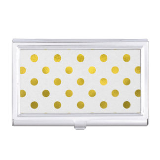 Gold Leaf Metallic Faux Foil Large Polka Dot White Case For Business Cards