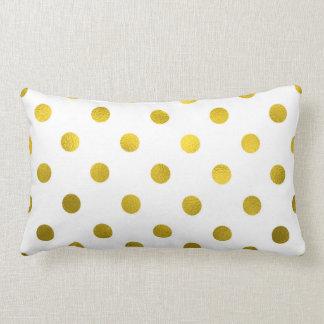 Gold Leaf Metallic Faux Foil Large Polka Dot White Lumbar Pillow