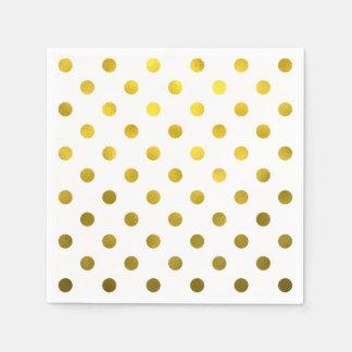Gold Leaf Metallic Faux Foil Large Polka Dot White Napkin