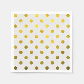 Gold Leaf Metallic Faux Foil Large Polka Dot White Paper Napkin