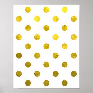 Gold Leaf Metallic Faux Foil Large Polka Dot White Poster