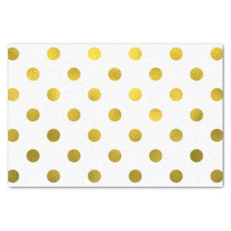 Gold Leaf Metallic Faux Foil Large Polka Dot White Tissue Paper