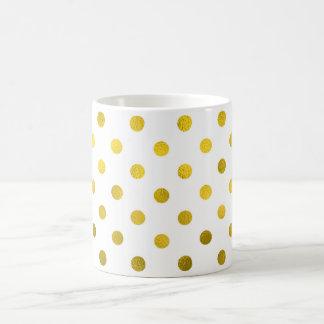 Gold Leaf Metallic Faux Foil Small Polka Dot White Coffee Mug