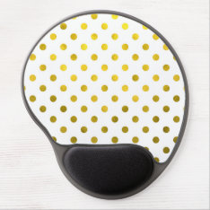 Gold Leaf Metallic Faux Foil Small Polka Dot White Gel Mouse Pad at Zazzle