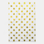 Gold Leaf Metallic Faux Foil Small Polka Dot White Hand Towel