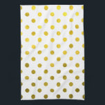 "Gold Leaf Metallic Faux Foil Small Polka Dot White Hand Towel<br><div class=""desc"">Use our cool template, artwork, photo, graphic, or illustration, then add a name, text, quote, or monogram to create your own custom or monogrammed &#160;dish cloth. Click the &quot;Customize it!&quot; button to make it totally customized. These dish towels or cloths are great gifts for men, women, and kids (and you,...</div>"
