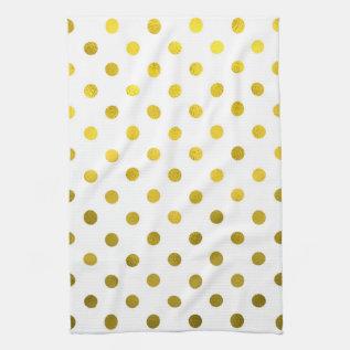 Gold Leaf Metallic Faux Foil Small Polka Dot White Hand Towel at Zazzle