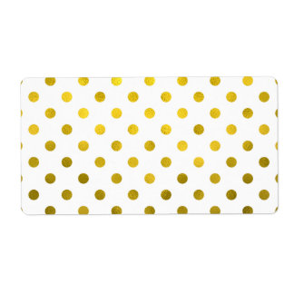 Gold Leaf Metallic Faux Foil Small Polka Dot White Label