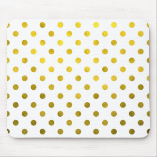 Gold Leaf Metallic Faux Foil Small Polka Dot White Mouse Pad