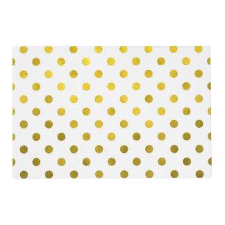Gold Leaf Metallic Faux Foil Small Polka Dot White Placemat