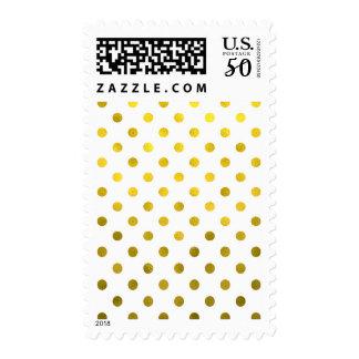 Gold Leaf Metallic Faux Foil Small Polka Dot White Postage
