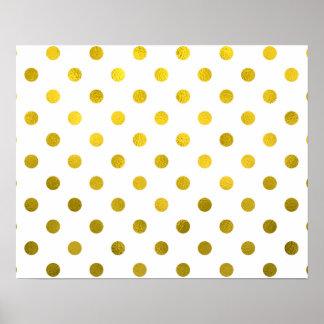 Gold Leaf Metallic Faux Foil Small Polka Dot White Poster