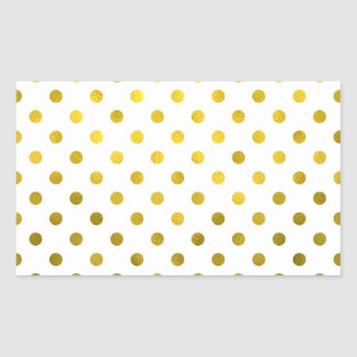 Gold Leaf Metallic Faux Foil Small Polka Dot White Rectangular Sticker