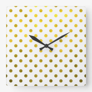 Gold Leaf Metallic Faux Foil Small Polka Dot White Square Wall Clock