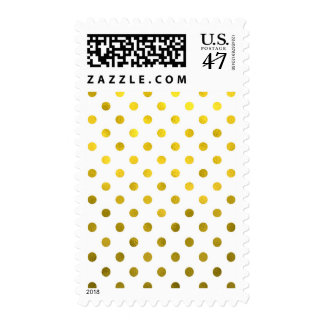 Gold Leaf Metallic Faux Foil Small Polka Dot White Stamp